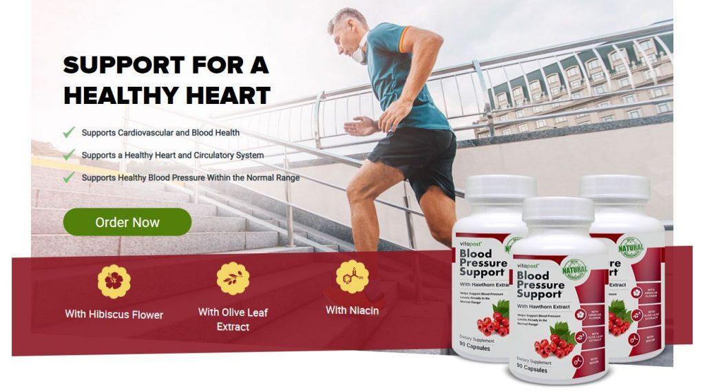 Blood pressure support website screenshot