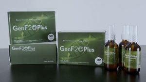 GenF20 Plus product packaging on table with white background